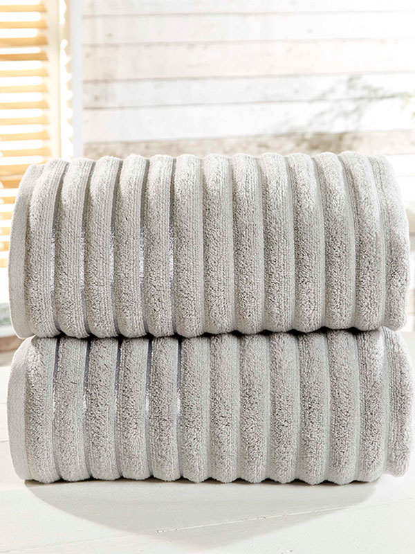 Ribbed 2 Piece Towel Bale Silver