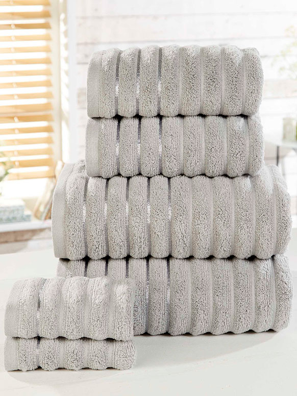 Ribbed 6 Piece Towel Bale Silver