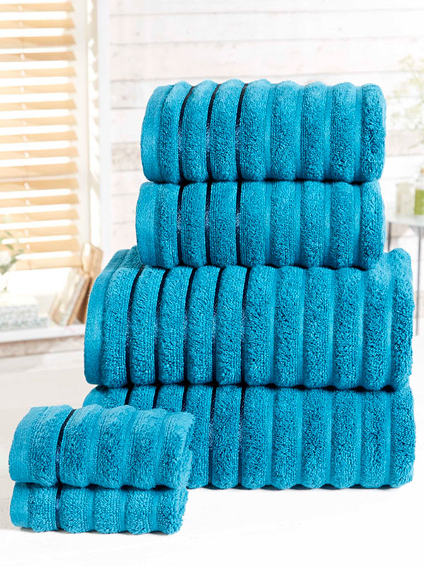 Ribbed 6 Piece Towel Bale Teal