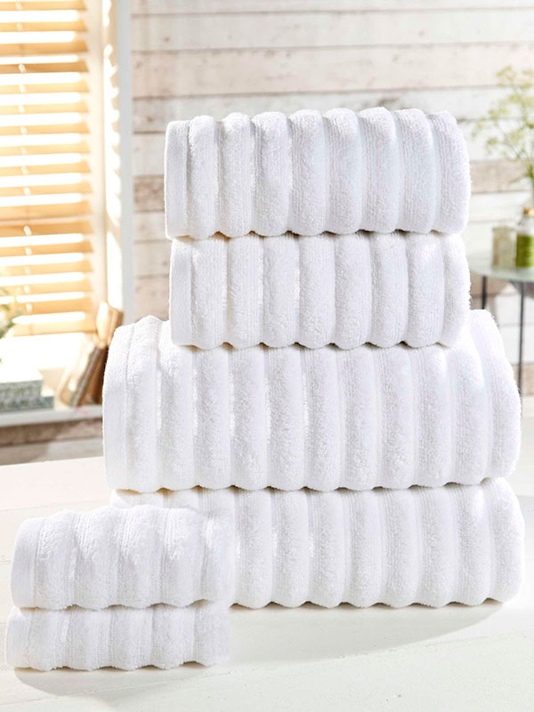 Ribbed 6 Piece Towel Bale White