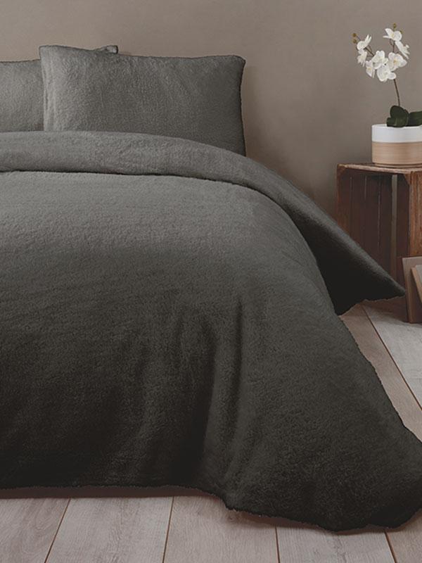 Snuggle Bedding Teddy Fleece Duvet Cover Set - King Size, Charcoal