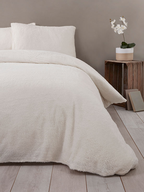 Snuggle Bedding Teddy Fleece Duvet Cover Set - King Size, Cream
