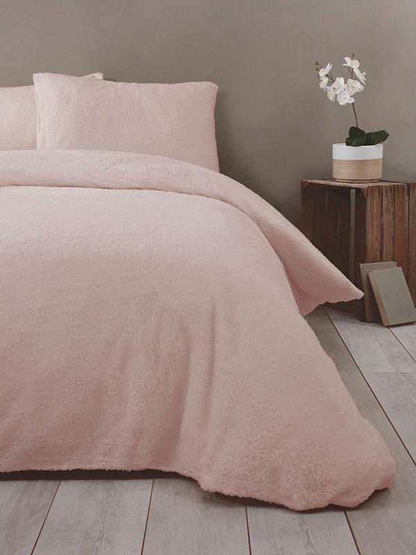 Snuggle Bedding Teddy Fleece Duvet Cover Set - King Size, Blush