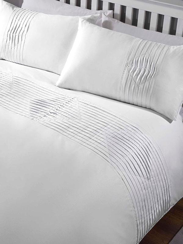 Boston Duvet Cover and Pillowcase Bed Set - Double, White