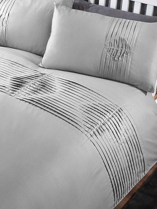 Boston Duvet Cover and Pillowcase Bed Set - King, Grey