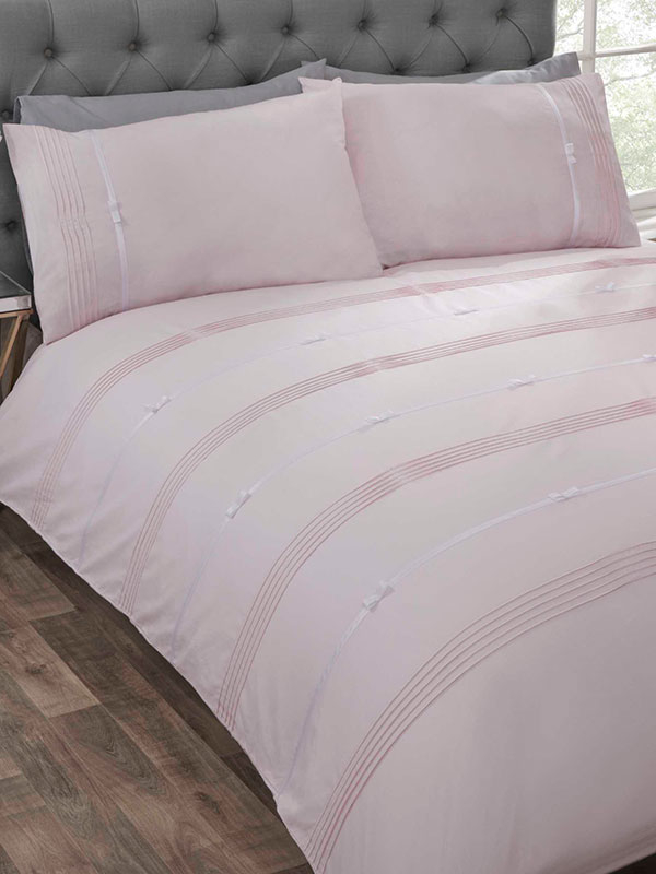 Clarissa Duvet Cover and Pillowcase Bed Set - Super King, Blush