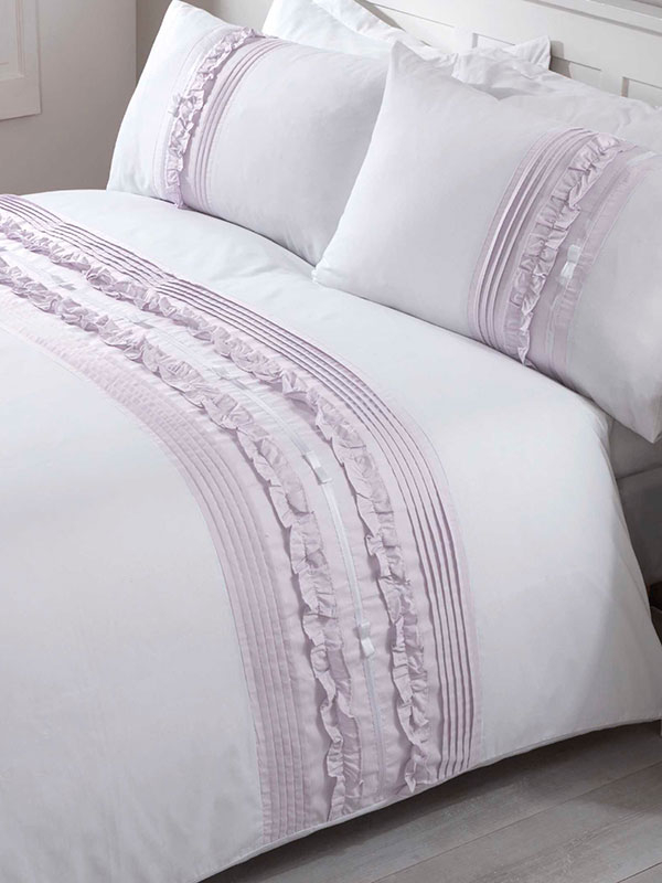 Tilly Duvet Cover and Pillowcase Bed Set - Double, Heather