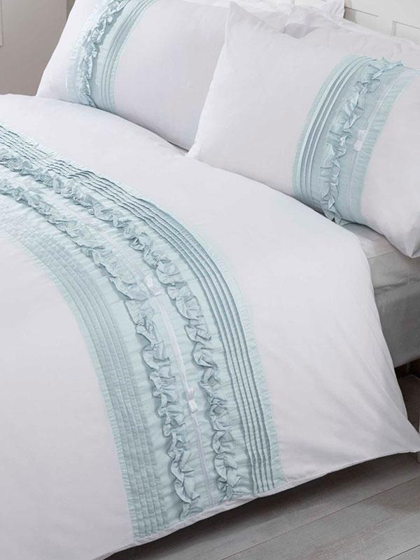 Tilly Duvet Cover and Pillowcase Bed Set - Super King, Duck Egg