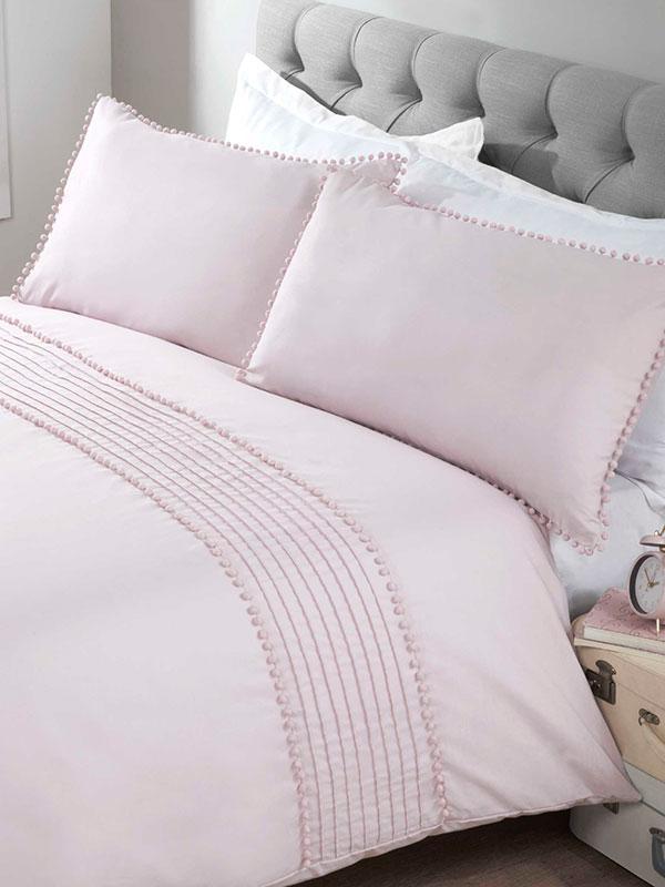 Pompom Duvet Cover and Pillowcase Bed Set - King, Blush
