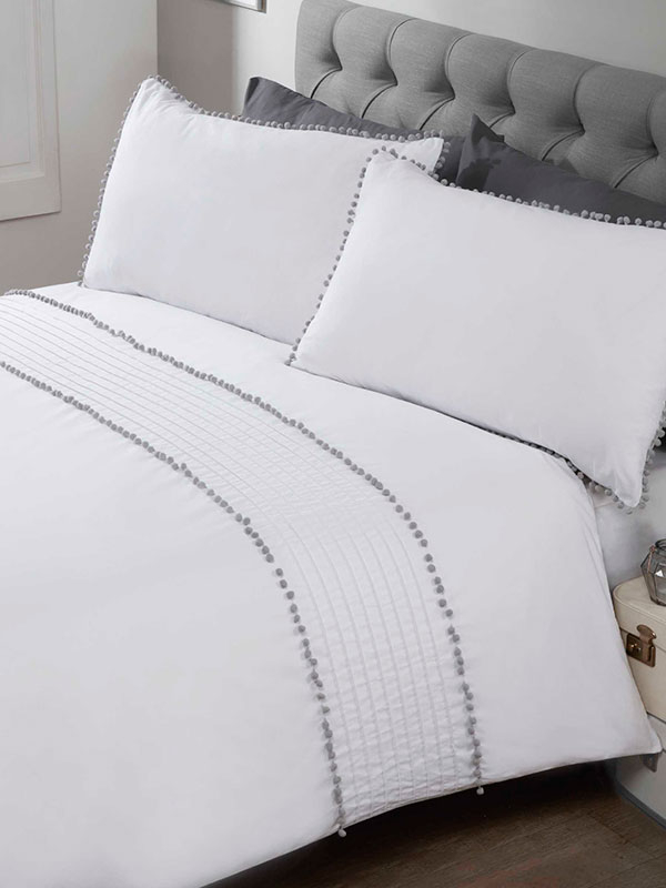 Pompom Duvet Cover and Pillowcase Bed Set - King, White and Grey