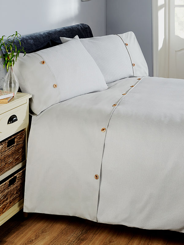 Waffle Duvet Cover and Pillowcase Bed Set - Double, Silver