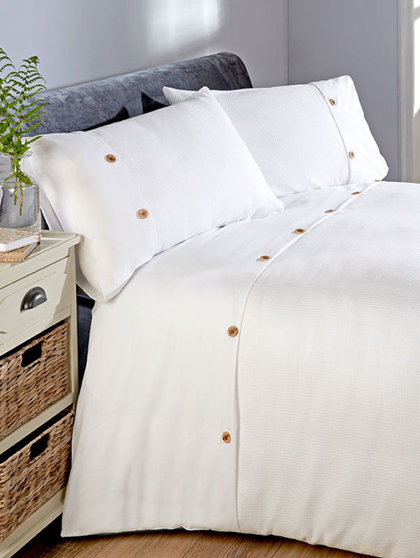 Waffle Duvet Cover and Pillowcase Bed Set - Double, White