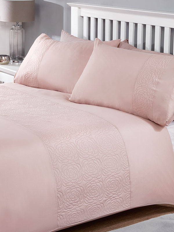 Layla Duvet Cover and Pillowcase Bed Set - Double, Blush
