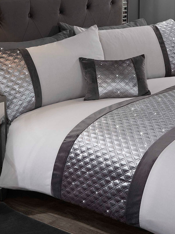 Hollywood Duvet Cover and Pillowcase Bed Set - Single, Silver