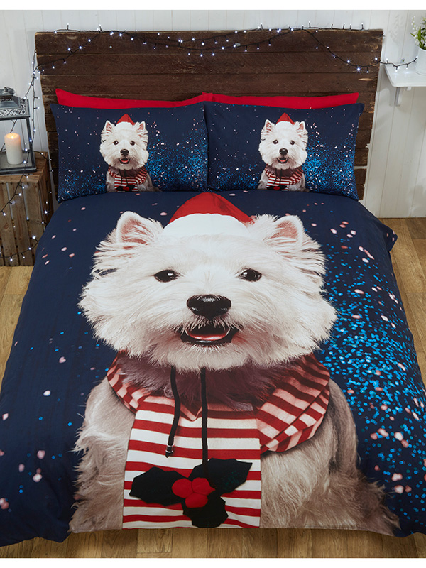 Christmas Westie Dog Single Duvet Cover and Pillowcase Set