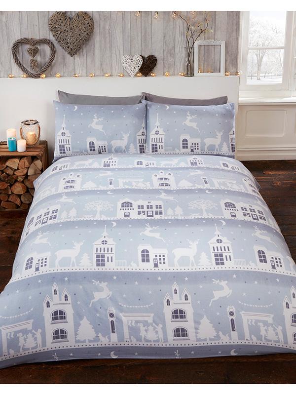 Reindeer Road Brushed Cotton Christmas King Size Duvet Cover Set -