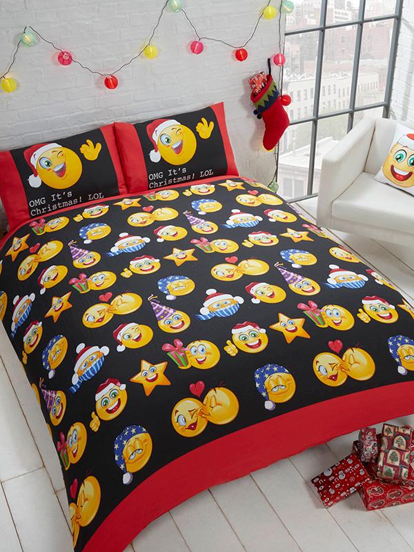 Emoji Icons Christmas Single Duvet Cover and Pillowcase Set