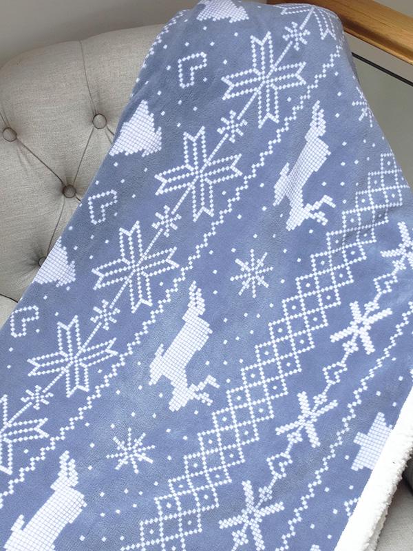 nordic print bergen christmas throw blanket  grey