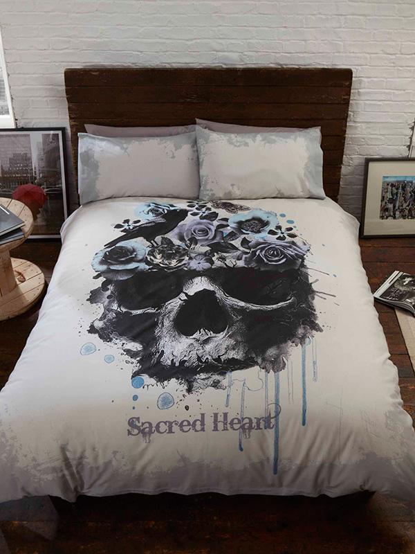 Price Right Home Sacred Heart Skull Single Duvet Cover and Pillowcase Set