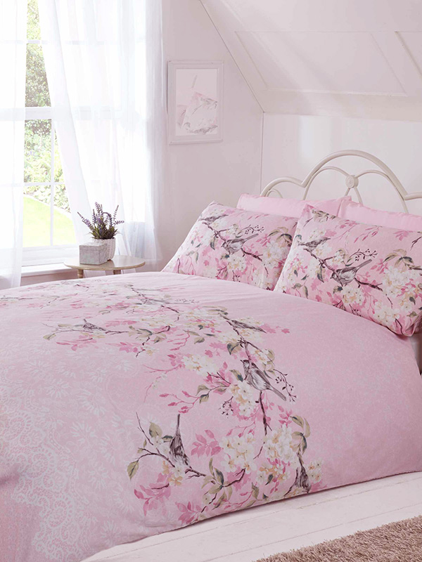 Eloise Floral Double Duvet Cover Set - Pink