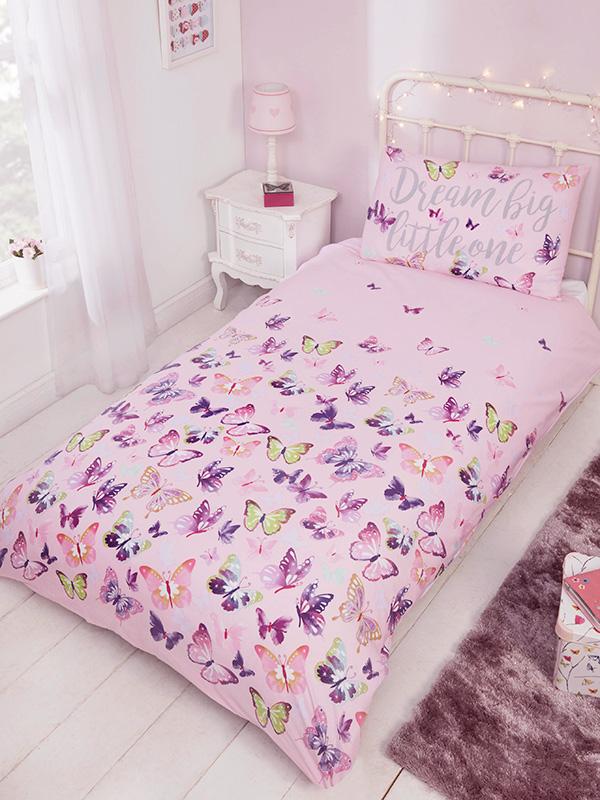 flitter flutter butterfly single duvet cover and pillowcase set