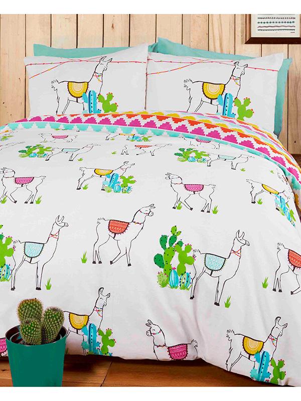Happy Llamas Double Duvet Cover and Pillowcase Set