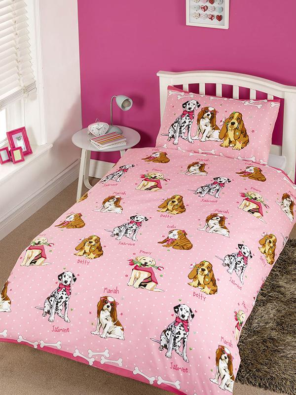 Doggies Pink 4 in 1 Junior Bedding Bundle Set (Duvet, Pillow, Covers)