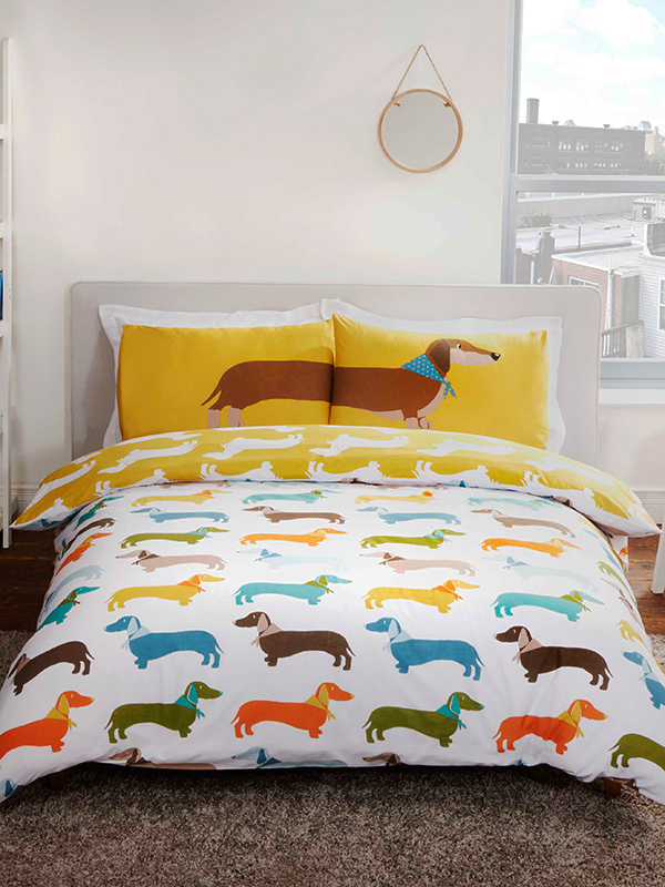 Sausage Dog Double Duvet Cover and Pillowcase Set