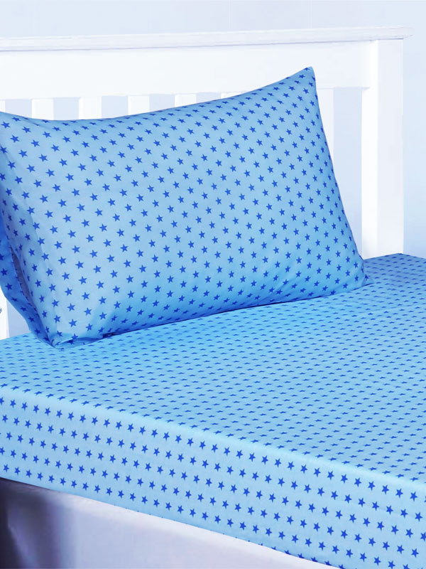 Trucks and Transport Blue Stars Single Fitted Sheet and Pillowcase Set