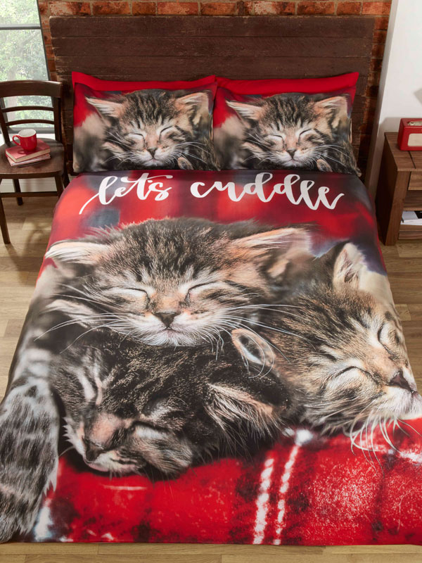 Cuddle Cats Single Duvet Cover and Pillowcase Set