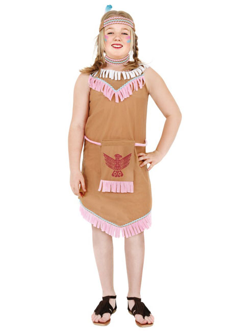 Red Indian Girls Dressing Up Costume Childs Fancy Dress Large