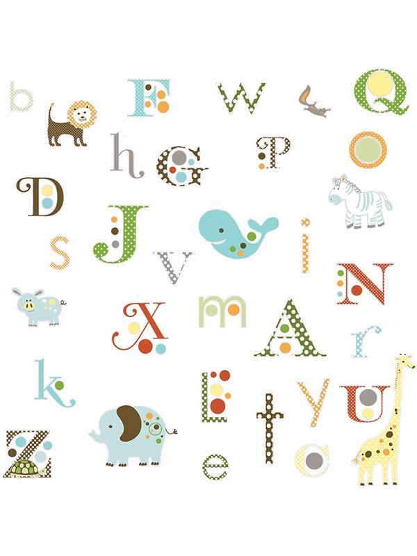 Room Mates Animal Alphabet Wall Stickers