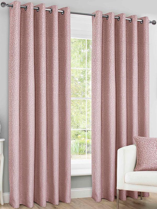 Belle Maison Lined Eyelet Curtains, Sahara Range, 46x90 Blush