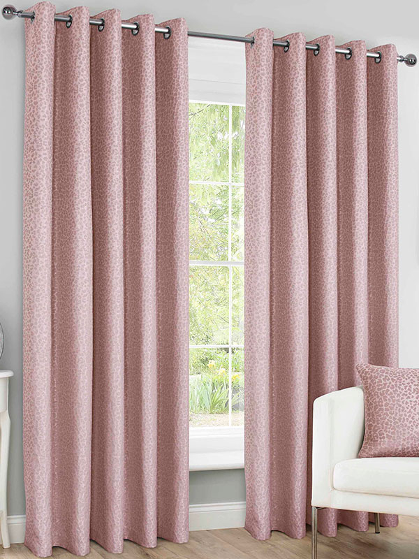 Belle Maison Lined Eyelet Curtains, Sahara Range, 66x72 Blush