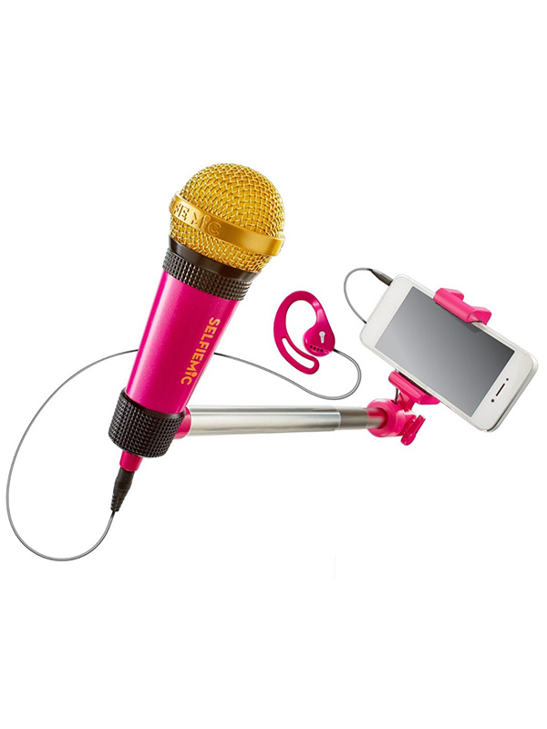SelfieMic Selfie Stick and Microphone Pink