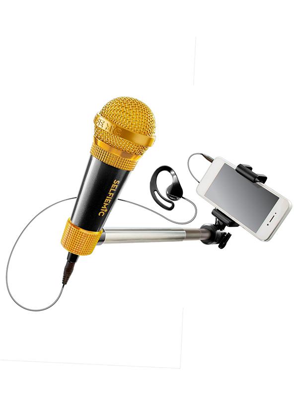 SelfieMic Selfie Stick and Microphone Black