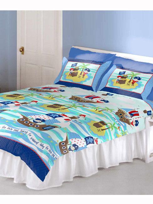 Seven Seas Pirates Double Duvet Cover and Pillowcase Set