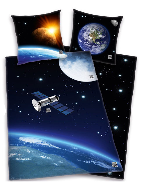 space satellite single duvet cover and pillowcase set
