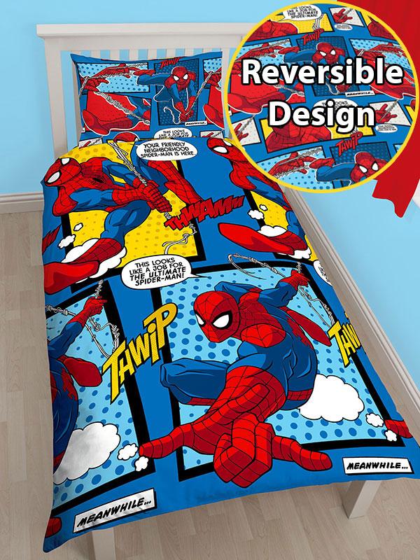spiderman webhead single duvet cover set  rotary design