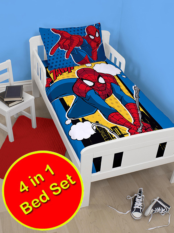 spiderman webhead 4 in 1 junior bedding bundle (duvet, pillow and