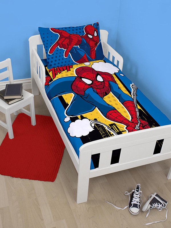 spiderman webhead junior toddler duvet cover and pillowcase set