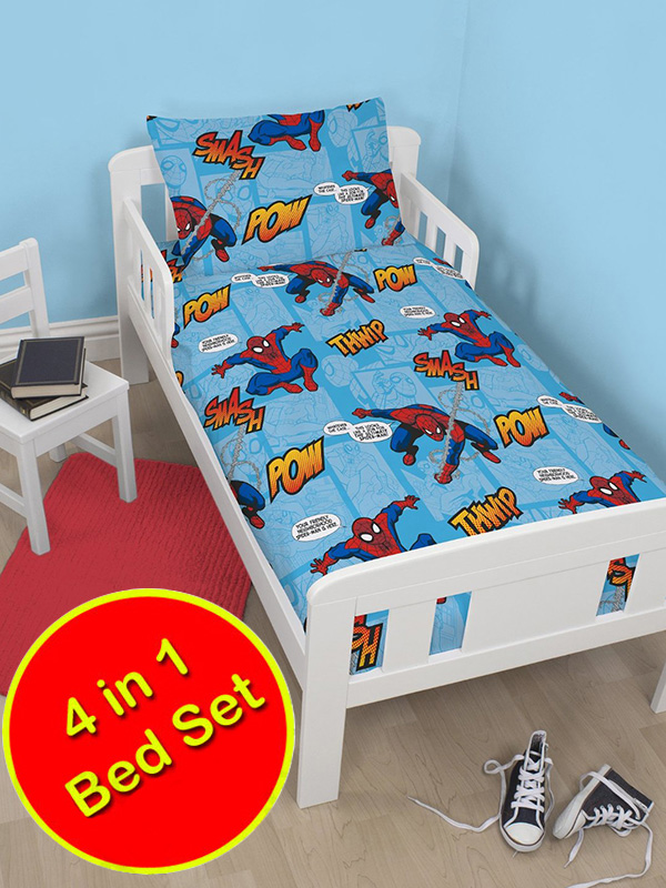 spiderman thwip 4 in 1 junior rotary bedding bundle (duvet, pillow and