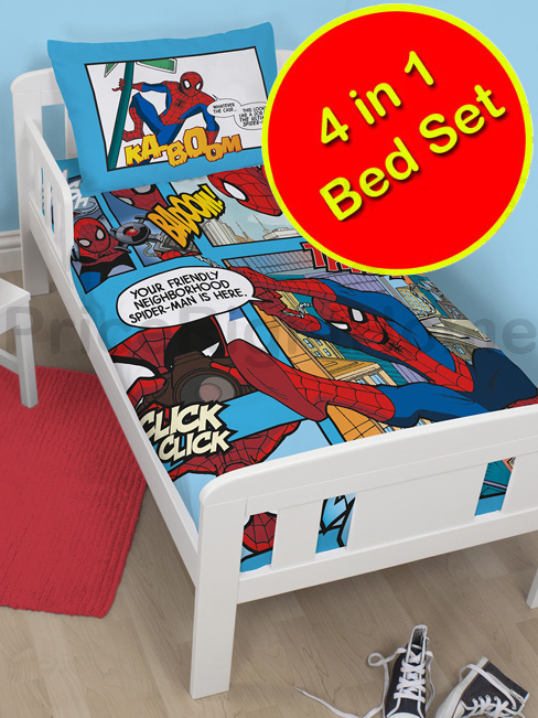 spiderman thwip 4 in 1 junior bed set (duvet, pillow and covers)