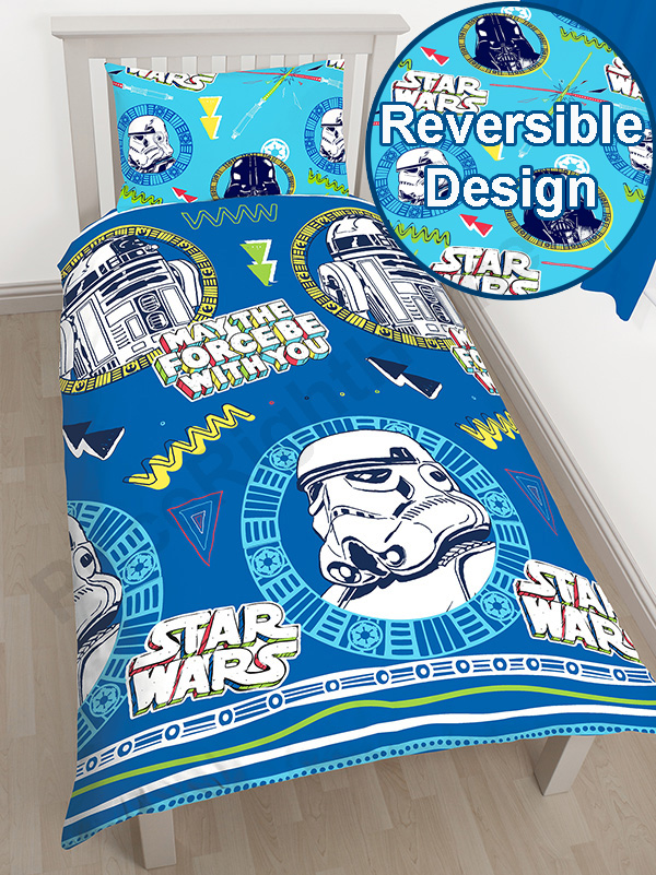 star wars classic doodle single duvet cover and pillowcase set