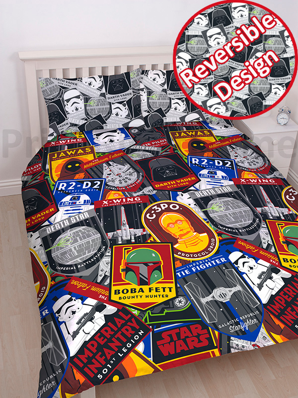 star wars classic patch king size duvet cover and pillowcase set