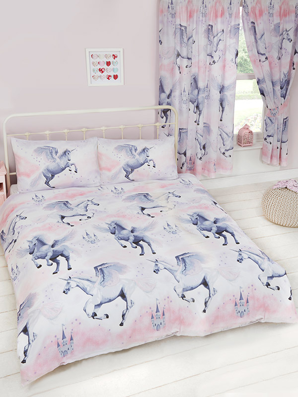stardust unicorn double duvet cover and pillowcase set  lilac and
