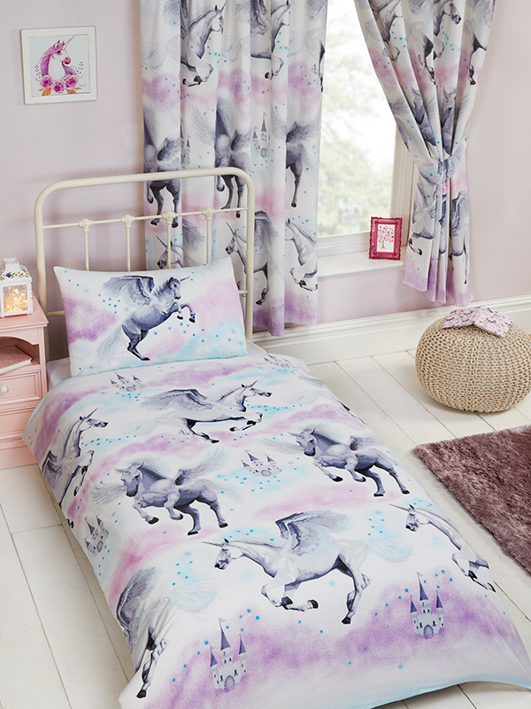 stardust unicorn junior toddler duvet cover and pillowcase set  purple