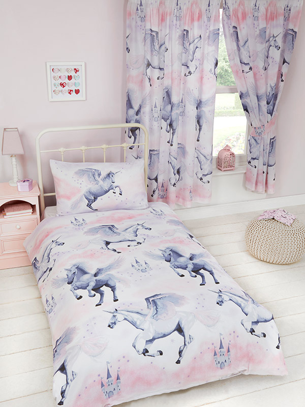 stardust unicorn single duvet cover and pillowcase set  lilac and
