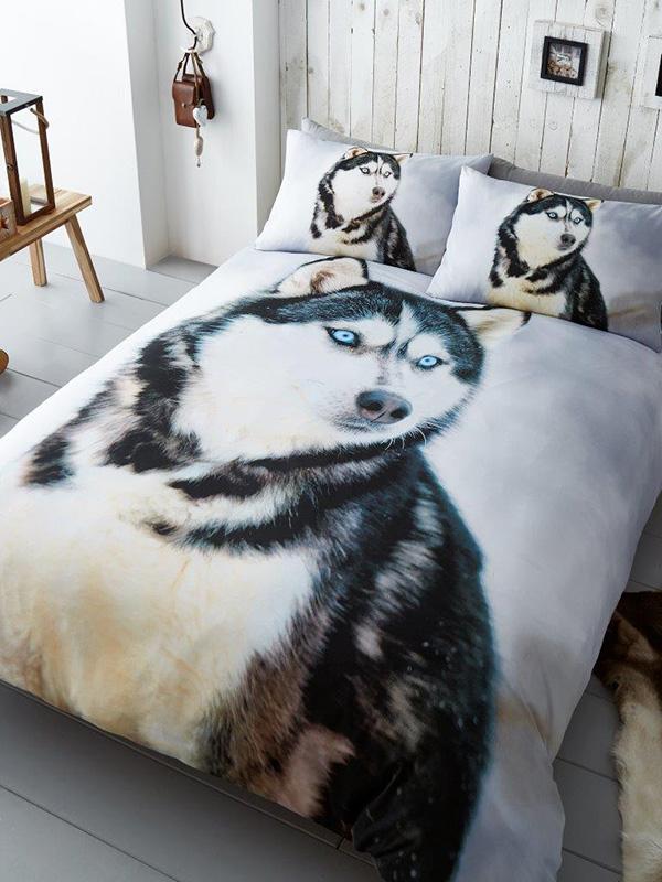 husky dog king size duvet cover and pillowcase set