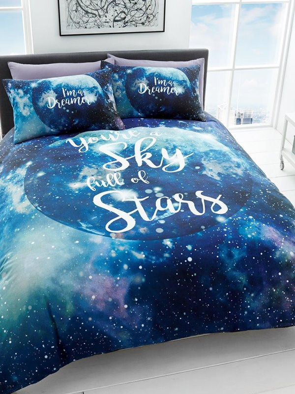 dreamer galaxy king size duvet cover and pillowcase set